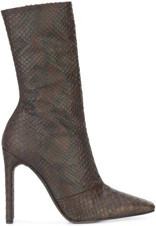 snake effect calf boots