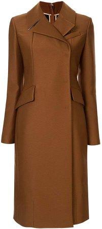 slim-fit zipped back coat