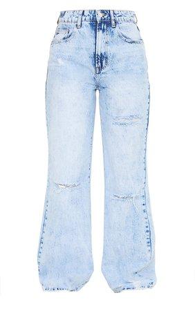 Ice Blue Wash Distressed Hem Wide Leg Jeans   PrettyLittleThing USA