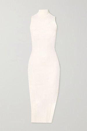 White Ribbed-knit turtleneck midi dress | Hervé Léger | NET-A-PORTER
