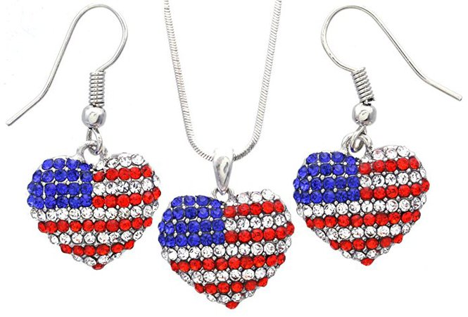 Amazon.com: SoulBreeze I Love USA American Flag Heart Earrings Dangle 4th of July Independence Day Gift for Mom (Dangle Set): Jewelry