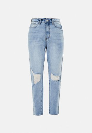 Light Blue Riot Highwaisted Distressed Knee Mom Jeans | Missguided