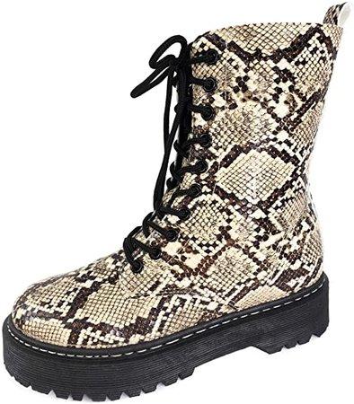 Amazon.com | Harper Shoes Womens Combat Boots Lace Up | Mid-Calf