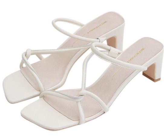 white square toed heels