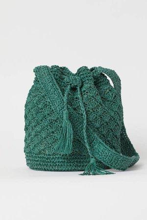 Straw Bucket Bag - Green