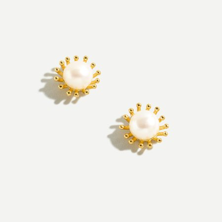 J.Crew: Demi-fine 14k Gold-plated Sun Earrings With Pearl For Women