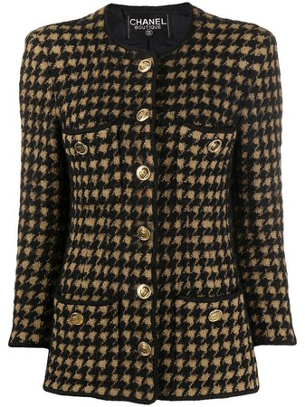 Chanel Pre-Owned Houndstooth Tweed Jacket - Farfetch
