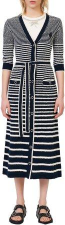 Stripe Long Cotton Blend Cardigan
