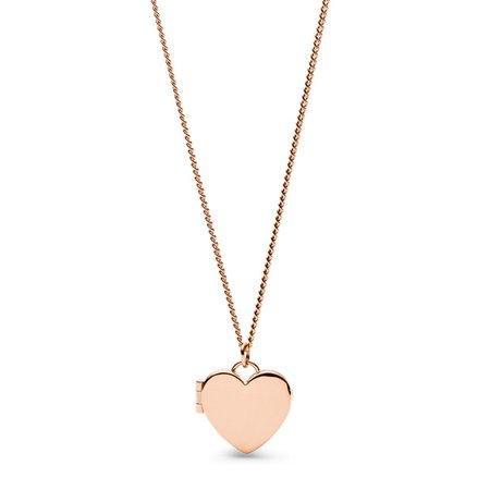 DARLING LOCKET ROSE GOLD-TONE STAINLESS STEEL NECKLACE