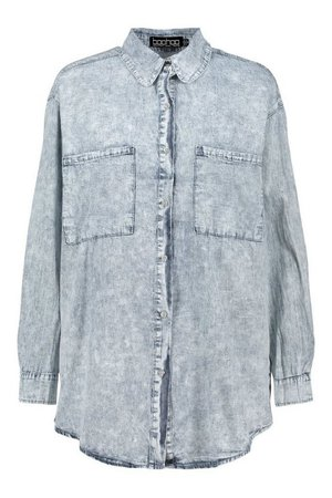 Chambray Light Wash Oversized Denim Shirt | boohoo blue