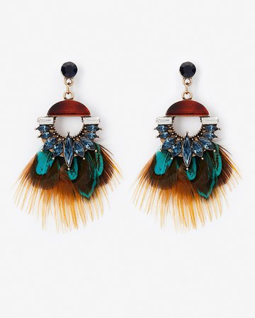 Stone & Feather Drop Earrings | Express