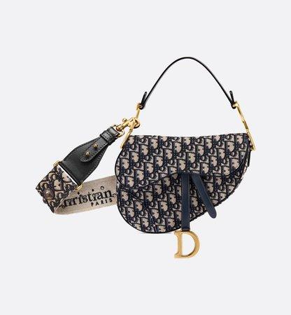 Saddle Bag Blue Dior Oblique Jacquard - Bags - Woman | DIOR