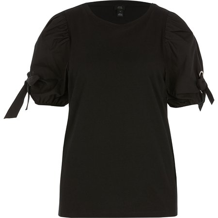 Black short puff eyelet tie sleeve T-shirt | River Island