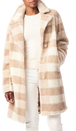 Check Teddy Faux Fur Coat