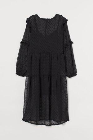 Ruffle-trimmed Dress - Black