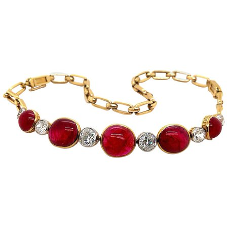 Burmese Ruby Cabochon and Old Cut Diamond Necklace/Bracelet, circa 1890s For Sale at 1stDibs
