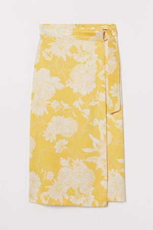 D-ring Wrap-front Skirt - Yellow