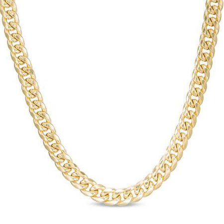Men's 7.5mm Cuban Link Chain Necklace in 10K Gold - 24"