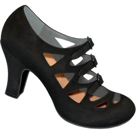 Aris Allen 1940s Women's Black Criss-Cross 3-Buckle Pump – dancestore.com