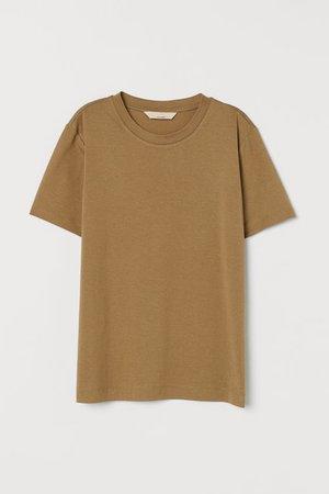 Silk-blend T-shirt - Khaki beige - Ladies | H&M US