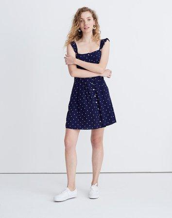 Ruffle-Strap Button-Front Dress in Polka Dot