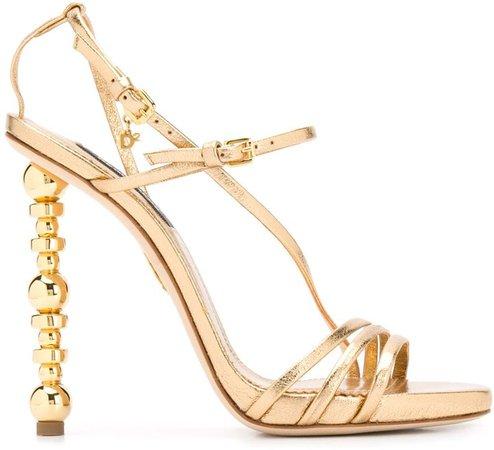 Embellished-Heel Stiletto Sandals