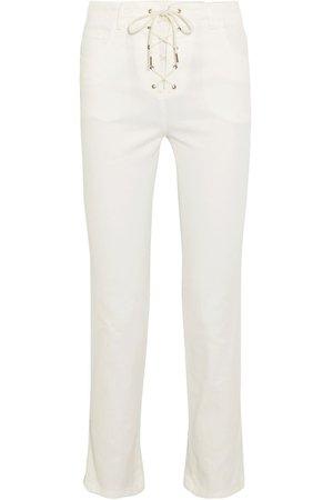 Lace-up cropped high-rise slim-leg jeans   CHLOÉ