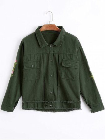 Frayed Floral Embroidered Denim Jacket - Army Green