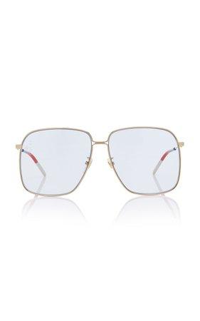 Gucci Sunglasses Glasant Oversized Metal Square-Frame Sunglasses