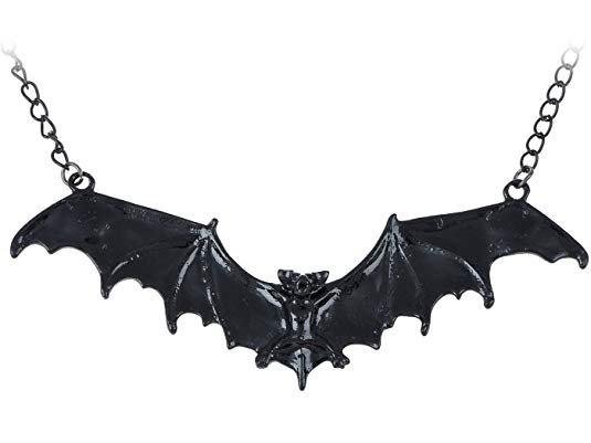 Amazon.com: Alilang Frightening Halloween Black Enamel Paint Flying Bat Metal Chain Necklace Pendant: Jewelry