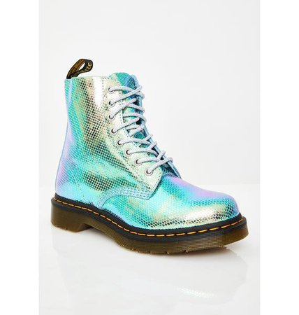 Dr. Martens 1460 Pascal Blue Duo Chrome Boots   Dolls Kill