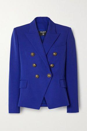 Royal blue Double-breasted wool blazer | Balmain | NET-A-PORTER