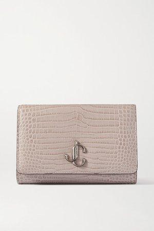 Varenne Croc-effect Leather Clutch - Beige