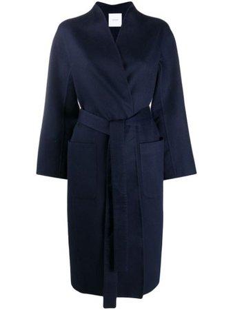 Shop blue Agnona tie-waist cashmere coat with Express Delivery - Farfetch