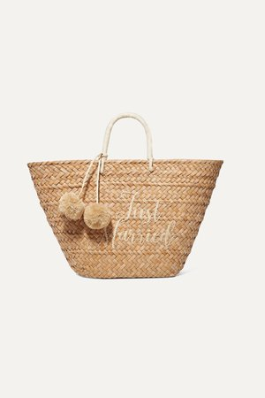 Sand St Tropez pompom-embellished embroidered woven straw tote | Kayu | NET-A-PORTER
