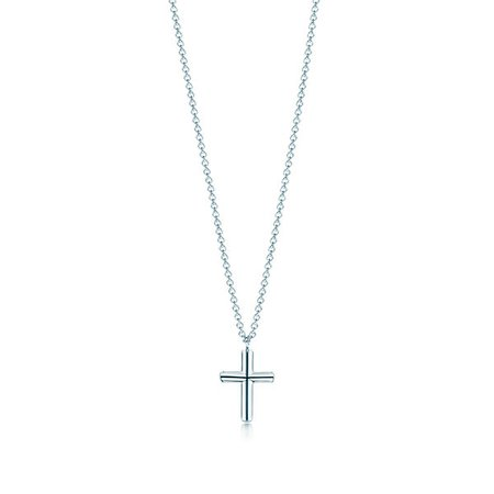 Shop Sterling Silver Concave Cross Pendant Necklace | Tiffany & Co.