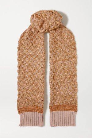Orange Cable-knit mélange wool-blend scarf | Chloé | NET-A-PORTER