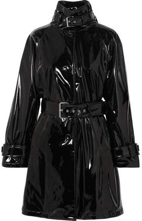 Belted Vinyl Trench Coat - Black