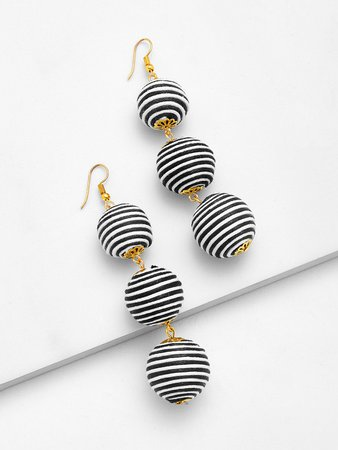 Striped Pom Pom Drop Earrings