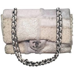 Chanel Cabas Extra Large Red Stripe Chain 231321 White Cotton Shoulder Bag For Sale at 1stdibs