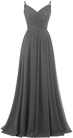 Amazon.com: Molisa Spaghetti Straps Lace V Neck Bridesmaid Dresses Long Chiffon Pleated Prom Evening Dress Formal Gown Dusty Rose 12: Clothing