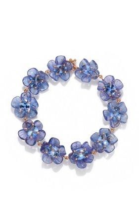 One of a Kind Tanzanite and Sapphire Tropical Flower Bracelet by Irene Neuwirth | Moda Operandi