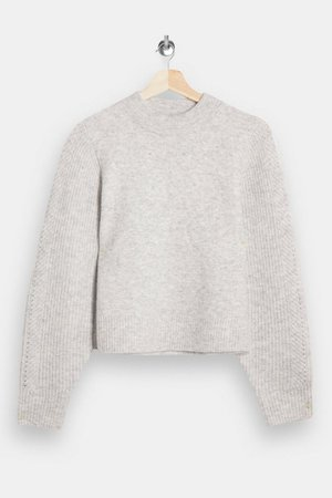 PETITE Gray Ribbed Knitted Sweater   Topshop