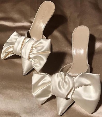 Bridal white satin bow heels
