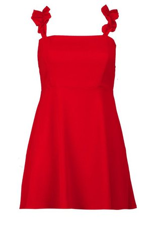 Petite Frill Strap Skater Dress | Boohoo