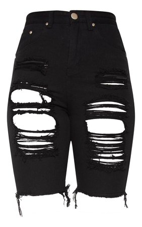 Black Extreme Distressed Long Shorts | Denim | PrettyLittleThing USA