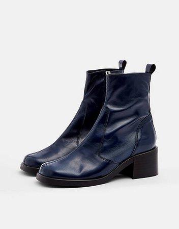 Topshop Viola round toe boots in navy | ASOS