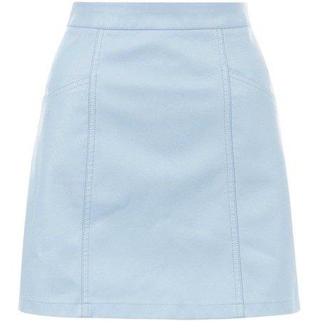 Pale Blue Leather-Look Seam Trim Mini Skirt