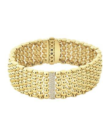 Lagos 18k Caviar Gold Diamond-Plate Wide Rope Bracelet