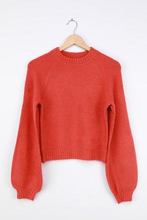 Orange Sweater - Balloon Sleeve Sweater - Pullover Sweater